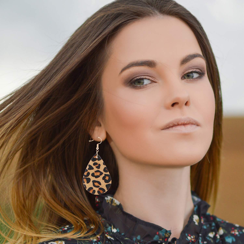 AgeXinjo 4 Pieces Leopard Jewelry Set Leopard Leather Bracelet Dangle Earring Acrylic Earrings Fur Long Necklace for Women-Oval