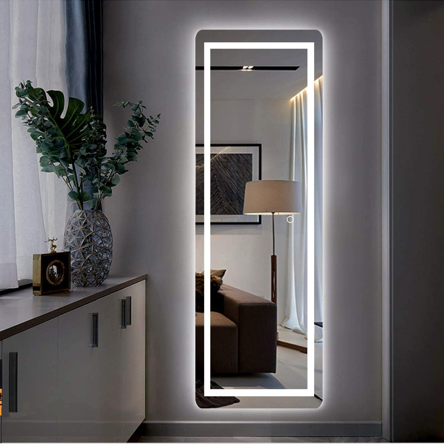 Miruo Led Full Length Mirror Wall Mounted Lighted Floor Mirror Dressing Make Up Mirror Bathroom Bedroom Living Room Dining Room Entry Dimmer Touch Switch 65 X 22 Home Kitchen