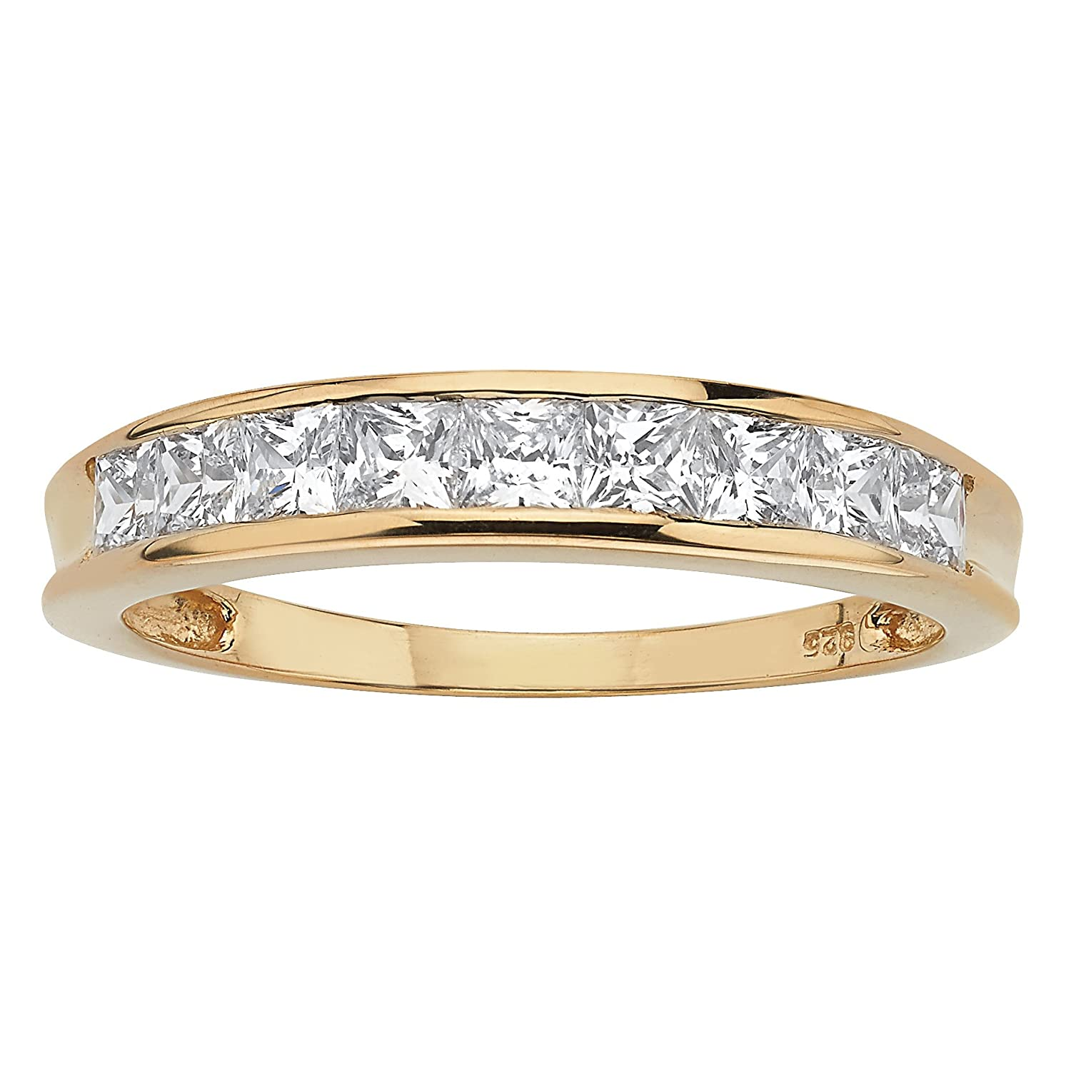 Round White Cubic Zirconia 18k Gold over .925 Sterling Silver Channel Anniversary Ring
