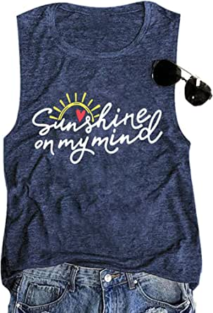 Sunshine on My Mind Tank Top Women Summer Graphic Tank Sleeveless Casual Vacation Shirt Vest