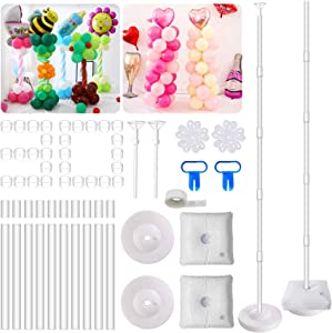 AXHJ 2 Set Balloon Column Kit Base Stand and Pole, 63 inch height with 2 Top Balloon Support Rod, 30Pcs Balloon Rings, 100 Glue Dot, 2 Tying Tool, 2 flower clip for Party Wedding Birthday Xmas Festival