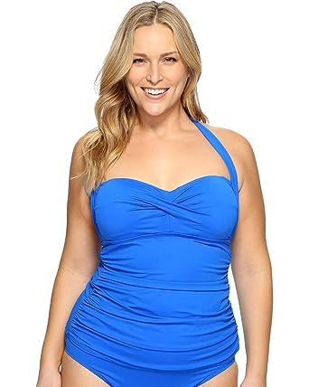 0c7b54afdac06 Lauren Ralph Lauren Women s Plus Size Beach Club Halterkini Blue Swimsuit  Top