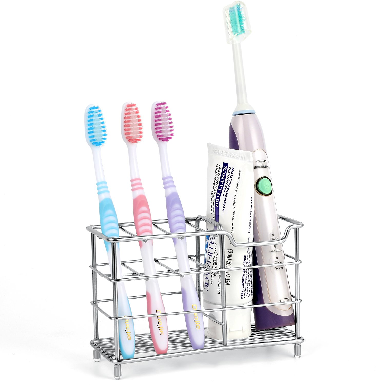 Stainless Steel Bathroom Toothbrush Holder Toothpaste Holder Stand Multi-Functional Stander (Silver-01) Housedeco
