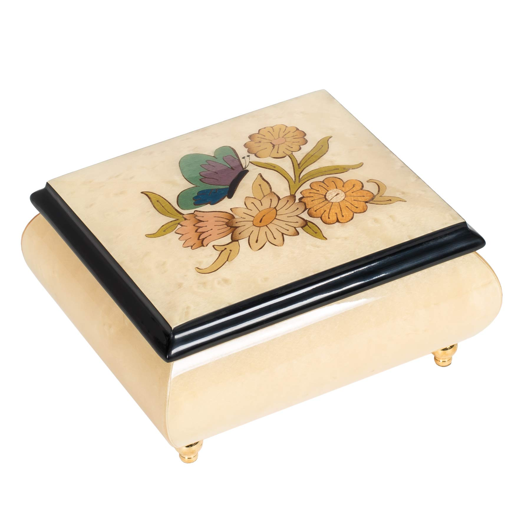 CDM product Inlaid Butterfly Italian Hand Crafted Wood Musical Jewelry Box (White) big image