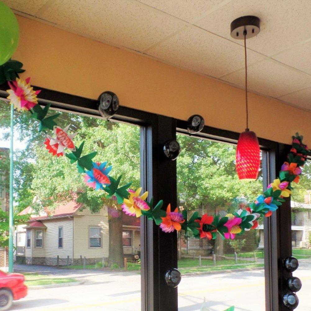 Gaeruite - Guirnalda de flores de tela hawaiana de 3 m con diseño de flores, para decoración de fiestas de cumpleaños, fiestas tropicales hawaianas, ...