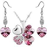 Bijoux Parures quatre feuilles collier pendentif+boucle en forme de coeur cristaux Swarovski Rose