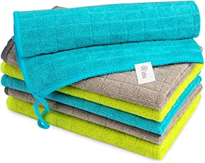AIDEA Microfiber Cleaning Cloths Softer Highly Absorbent, Lint Free Streak Free for Tackling Any Cleaning Job with Ease for House, Kitchen, Car, Window (14''x16'')-6PK