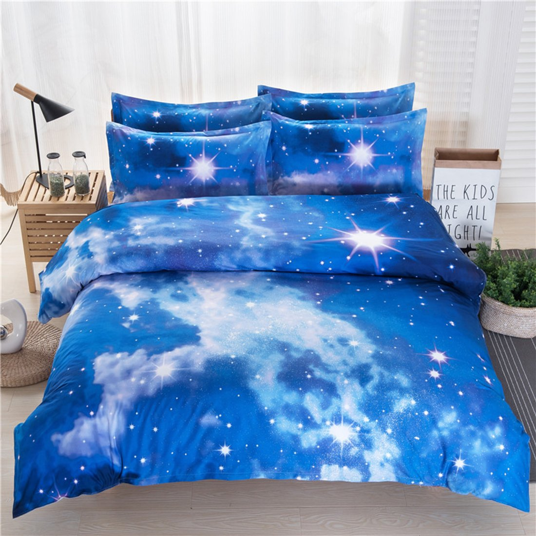 Vinmax Galaxy 3D Bedding Sets 4pc Mysterious Sky Night Bedding Sheet Sets, Duvet Cover, Flat Sheet, 2 Pillowcase (no Comforter inside) (A, 78.7490.55 in)
