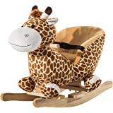 HOMCOM Children Kids Rocking Horse Toys Giraffe Seat Belt Toddlers Baby Toy Gift