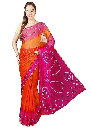 d96a2c93dc Pavecha's Women's Bandhani Polka Printed Chiffon Saree(MK3760_Pink_Free  Size): Amazon.in: Clothing & Accessories