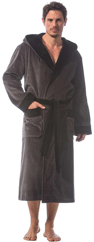 Bugatti Bademantel für Herren, Farbe grau mit schwarz, mit Kapuze, Gr. S, Velours, Baumwolle Morgenstern 4660