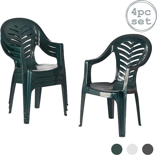 Resol Palma silla de jardín – verde – Patio plástico al aire libre muebles (Pack de 4): Amazon.es: Jardín