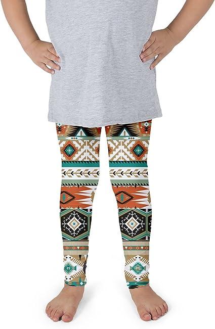 Earthy Aztec Tribal Geometric Fleece Leggings Full Length