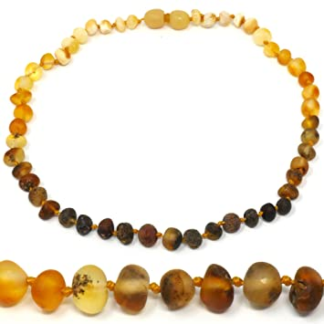 29e0a9e8936ae Amber Teething Necklace - TRULY Raw 100% Baltic Amber 🌈 Rainbow