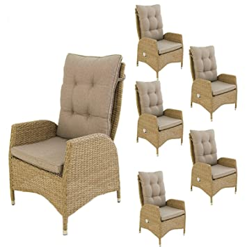 Edenjardi Pack 6 sillones de Exterior reclinables | Tamaño ...