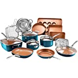 Gotham Steel Cookware + Bakeware Set with Nonstick Durable Ceramic Copper Coating – Includes Skillets, Stock Pots, Deep…
