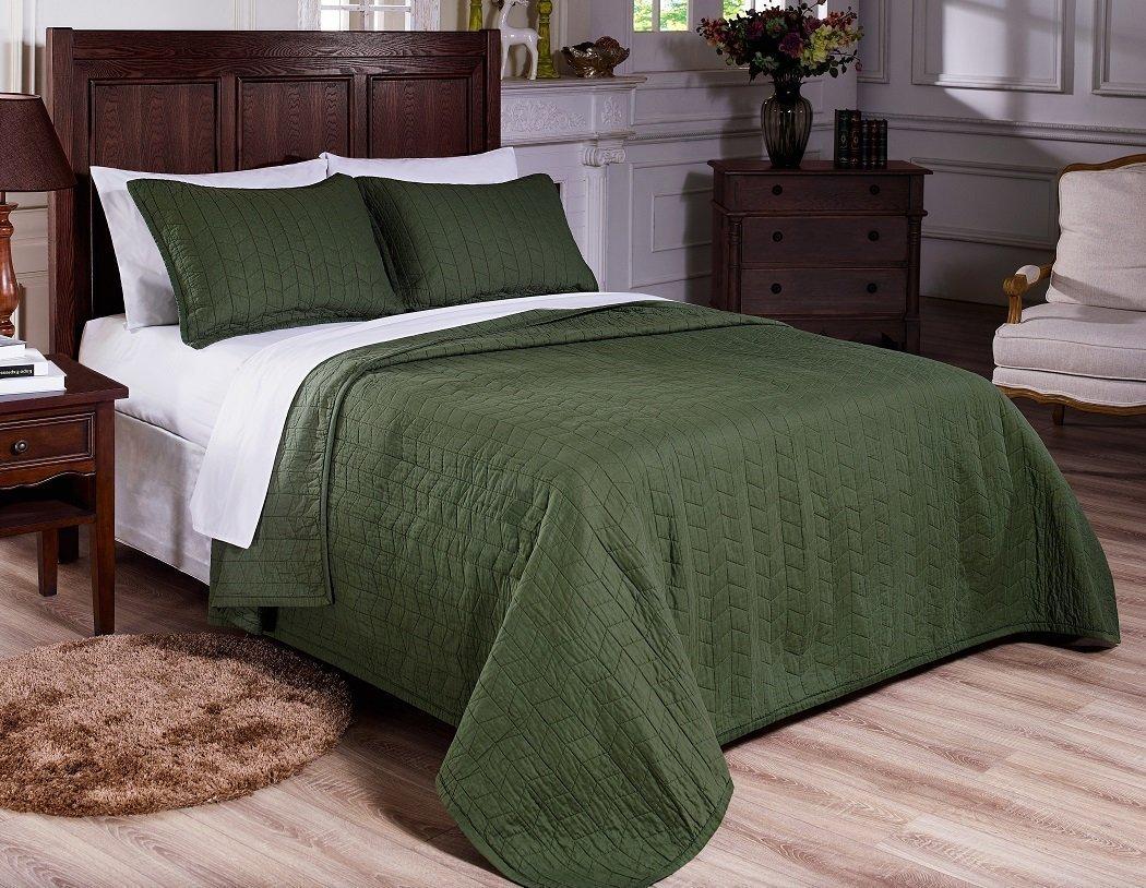 ファンシーコレクション100 %コットンキルト風刺繍ベッドスプレッドセットソリッドグリーン新しい キング グリーン B076TPWS75  キング