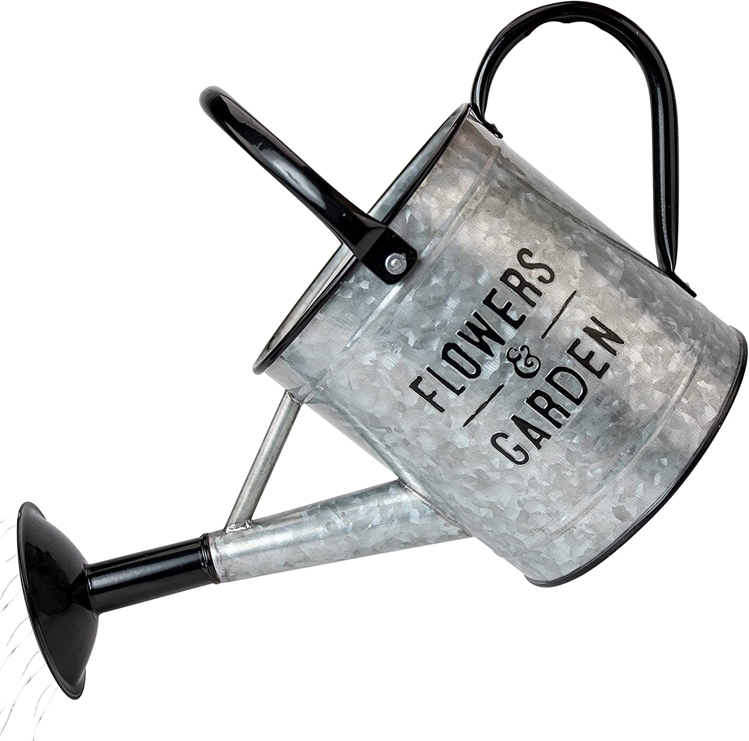 KIBAGA Beautiful Galvanized Watering Can - Decorative 85oz Farmhouse Style Watering Can with Easy Pour Over Sprinkler Spout for Fast and Easy Plant Watering - Perfect for Indoor and Outdoor Use