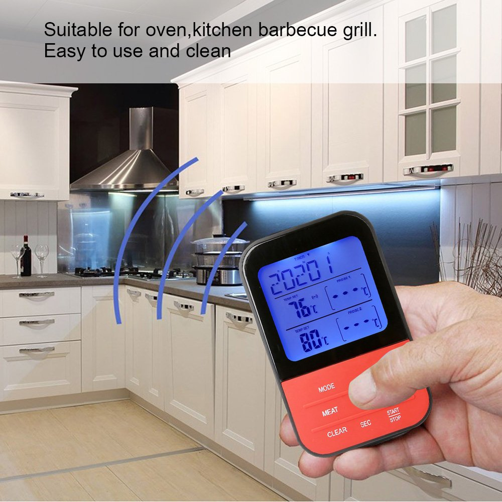Wireless Barbecue Thermometer,iDeep Digital Meat Thermometer Cooking Thermometer Food Thermometer Instant Read Screen Timer Alert Function about 98 Feet Range with 2 Probe for BBQ Oven Picnic Kitchen by iDeep (Image #8)