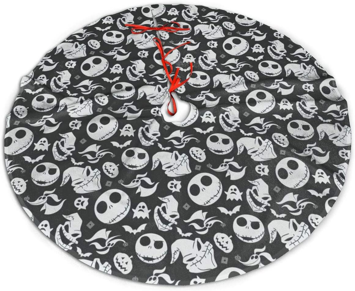 The Nightmare Before Christmas Christmas Tree Skirt Kits Mat Decorations Large Trees Group Soft And Light Easy To Put In Home Office Livingroom For Xmas Halloween Holiday Party Decoration 48in