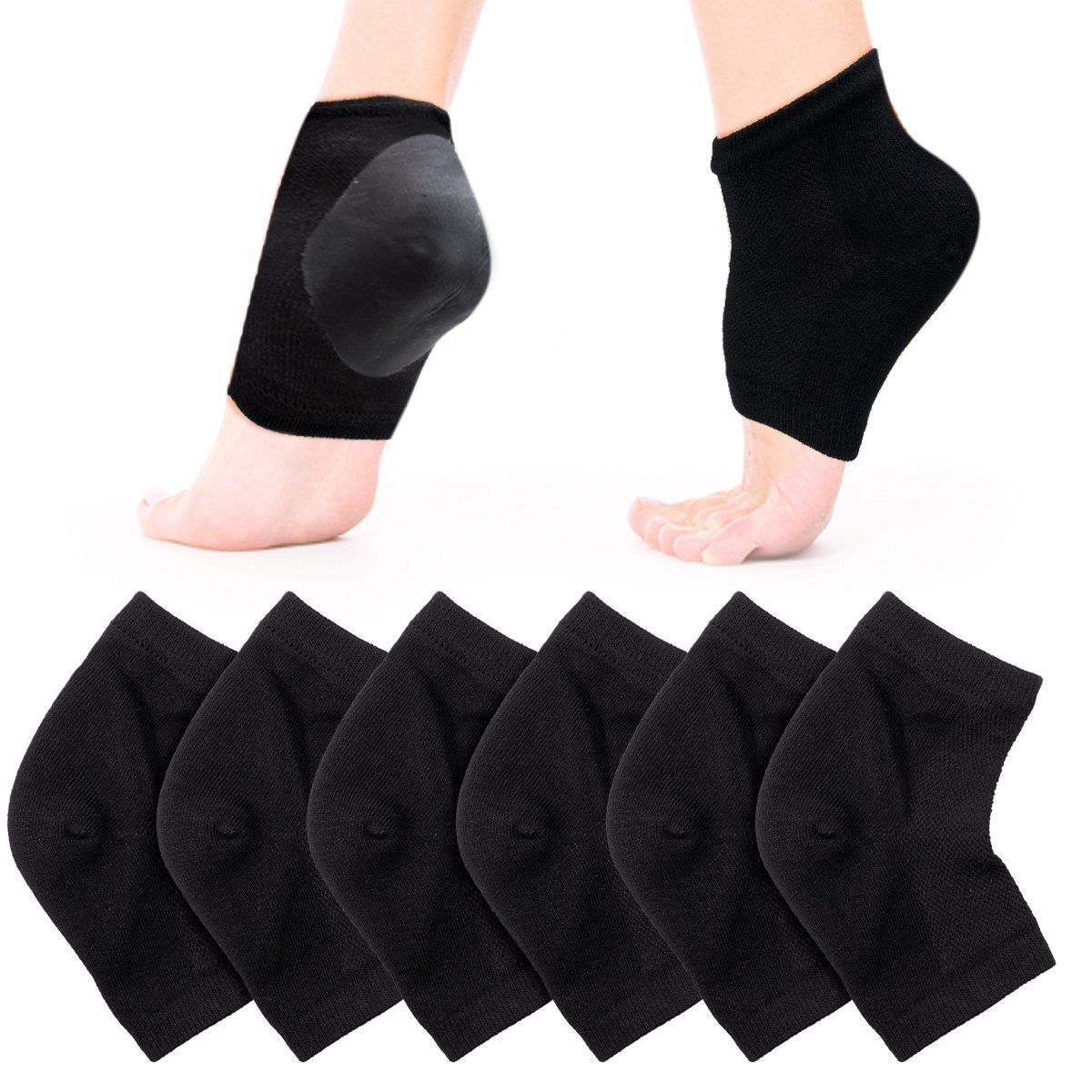 CIEHER 3 Pairs Open Toe Heel Socks for Dry Hard Cracked Skin Moisturizing Cracked Heel Socks Gel Heel Socks