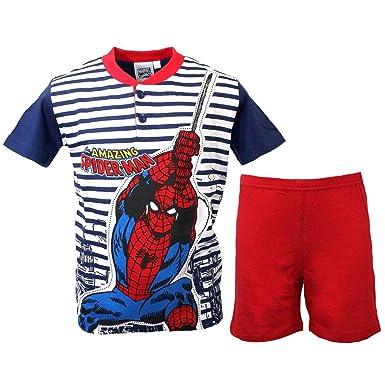 e0ade4707bdc5 Spiderman Pyjama Enfant Homme Araignée Demi Manches 8 - 9-10 ans pur coton  16099b  Amazon.fr  Vêtements et accessoires