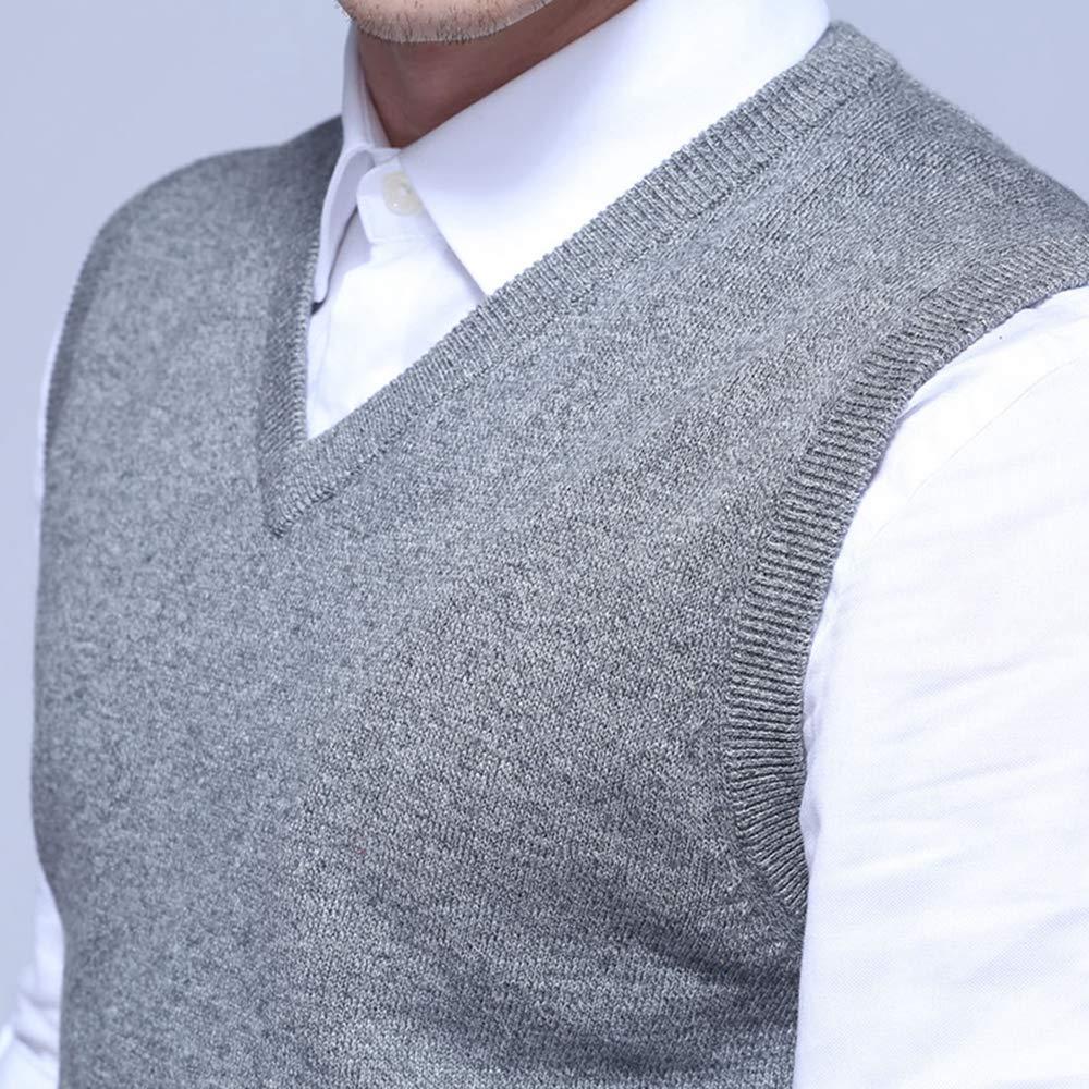 Men Sleeveless Sweater Vest Autumn Spring 100% Cotton Knitted Vest ...
