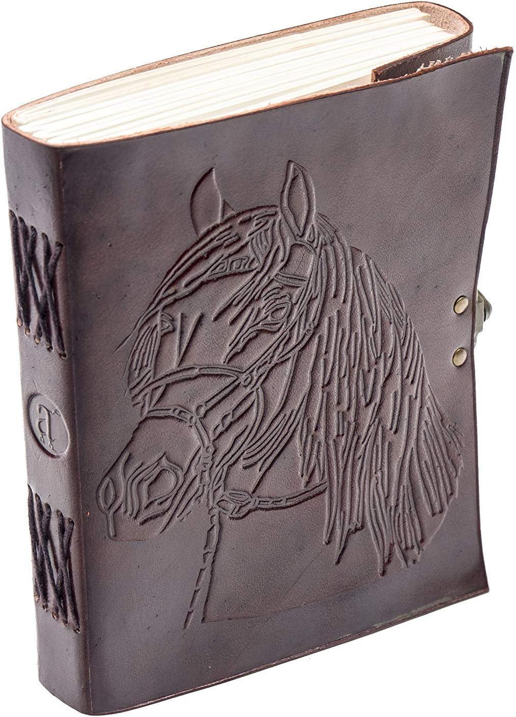ANUENT Diario de cuero con diseño de caballo vintage en relieve, diario (hojas multipropósito) con cierre de bloqueo