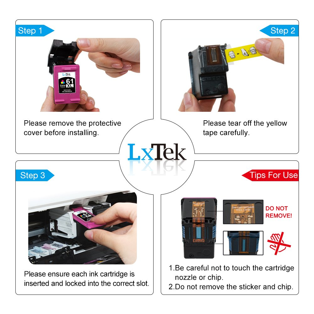 LxTek Remanufactured Ink Cartridge Replacement for HP 61XL
