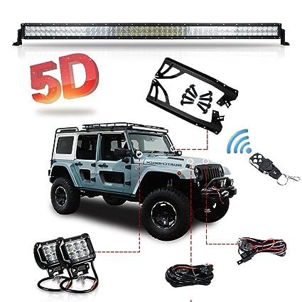 Amazon racbox wrangler jk 52 inch led light bar mounting racbox wrangler jk 52 inch led light bar mounting brackets kit 5d lens 300w 4 aloadofball Gallery