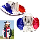 ae7dfcf840dc2 American Cowboy Hats 2 Pack - Red White and Blue Patriotic Cowboy Hat -  Party Favor