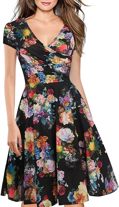 Women's Criss-Cross Necklines V-Neck Cap Sleeve Floral Casual Work Stretch Swing Summer Dress Party Dress