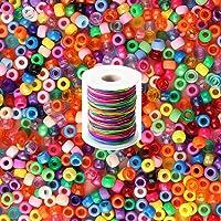 ZesNice Perlas de colores, Perlas para manualidades, Perlas para pulseras, Perlas para collares, 1200 cuentas de pelo y…