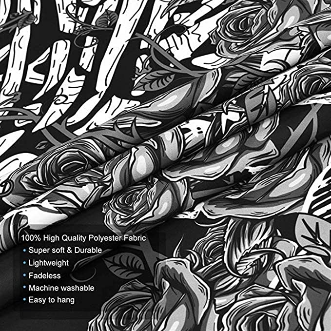 B--Floral Plants, M//130cmx150cm Tapiz de Calavera Los Amantes de los Besos Tapiz Colgante de Pared En Blanco y Negro Tapiz de Esqueleto Humano con Corona de Rosas Tapices de decoraci/ón para el hogar