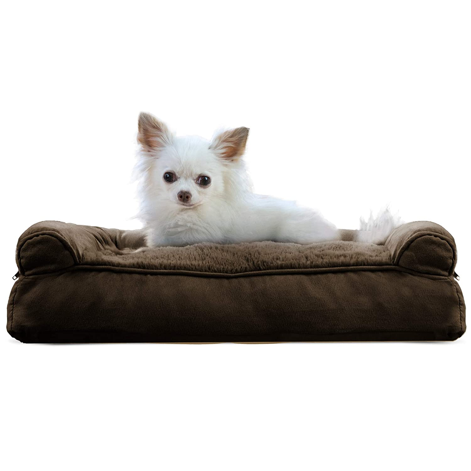 Espresso Small Espresso Small FurHaven Pet Dog Bed   Plush & Suede Pillow Sofa-Style Couch Pet Bed for Dogs & Cats, Espresso, Small