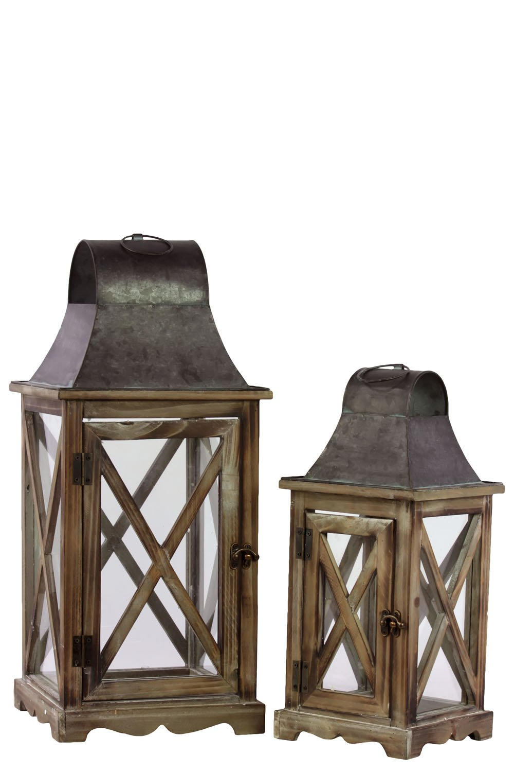 Urban Trends 23800 Square Lantern with Metal Top and Hangers Set of Two Natural Wood Finish Brown
