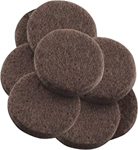 """Self-Stick Furniture Round Felt Pads for Hard Surfaces – Protect your Hard Floors from Furniture Scratches, 1-1/2"""" Walnut Brown, Round (8 Pieces)"""