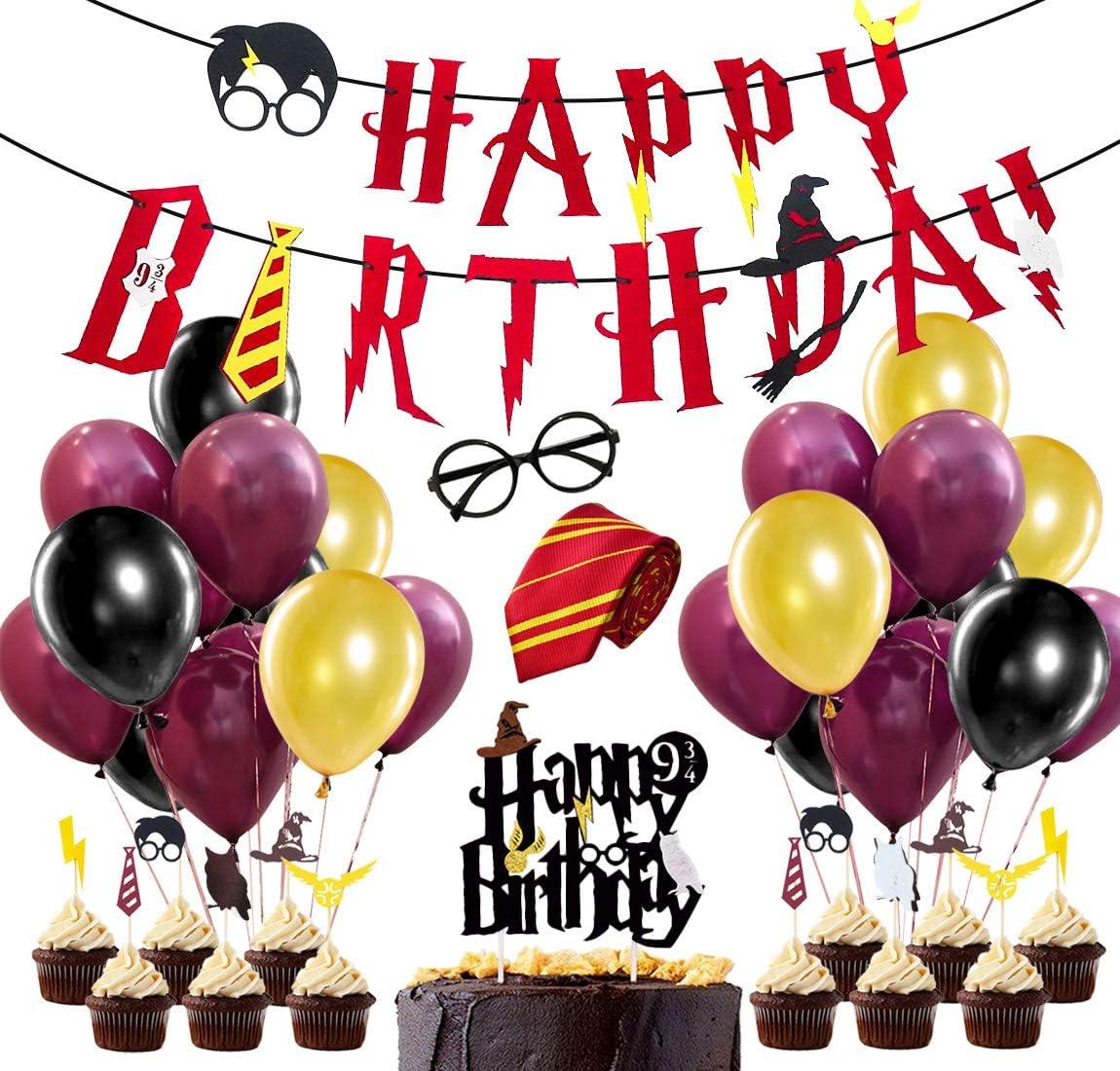 Suministros para la Fiesta de Harry Potter, Estandarte de cumpleaños, Rojo Vino, Corbata a Rayas, Gafas de Mago, Primeros de Pastel para Decoraciones de Fiesta de cumpleaños