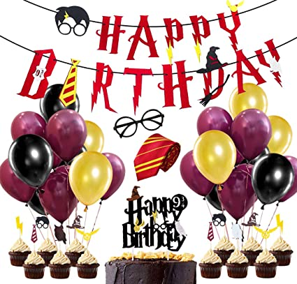 Wizard Party Supplies, Wine Rred Happy Birthday Banner, Striped Tie, Wizard Glasses, Cake Toppers for Wizard Birthday Party Decorations