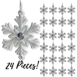 "White Snowflakes - Set of 24 - 2 ½"" Snowflake Ornaments with a Jewel - White Christmas Decorations - Glittered Snowflakes with Strings - Winter Party Decoration"