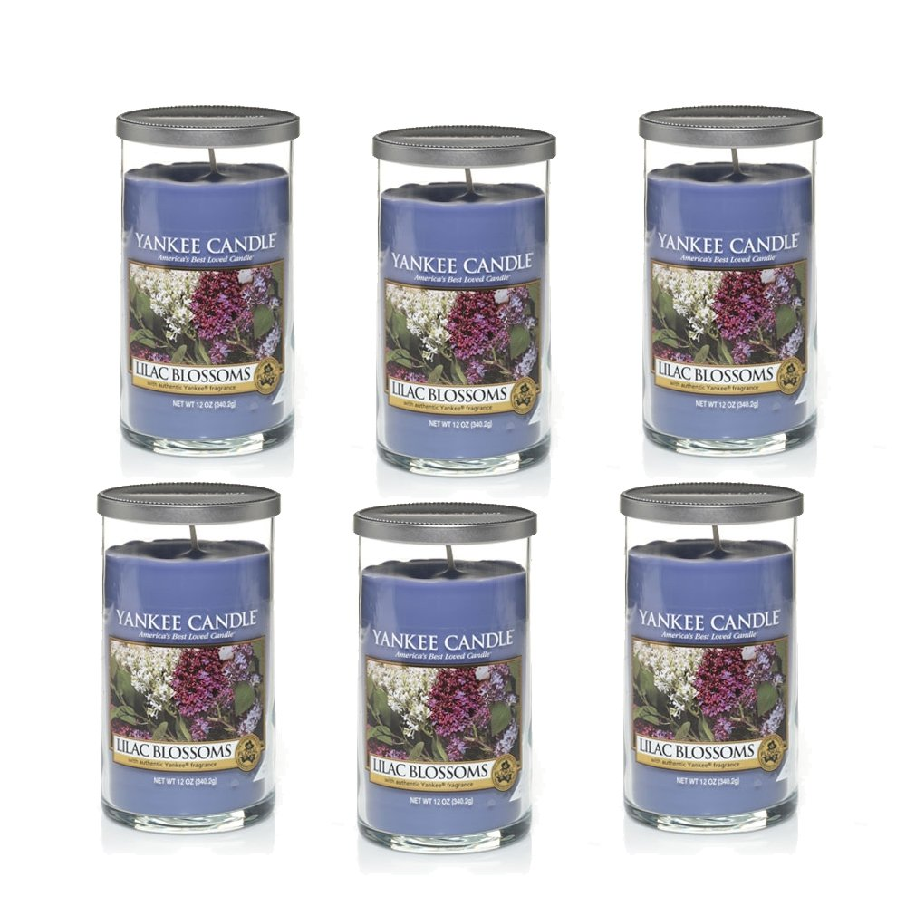 Yankee Candle Company Lilac Blossoms Pillar Candle, 12-Ounce, Set of 6 by Yankee Candle