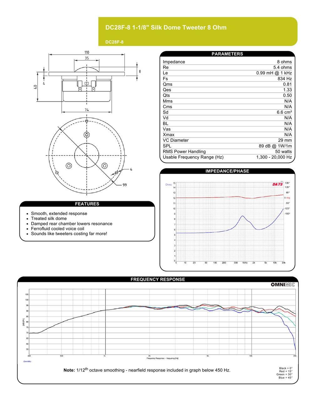 Dayton Audio Dc28f 8 1 Silk Dome Tweeter Hi Fi Diy Boombox Wiring Diagram Speakers