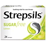Strepsils Lozenges for Sore Throats Blister Pack, Sugar Free Lemon, 24ct