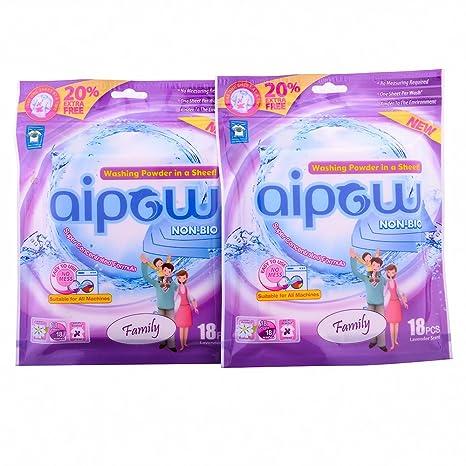 aipow Non-Bio lavandería hoja - Detergente en polvo en una hoja, familia, 18 Sheets: Amazon.es: Hogar