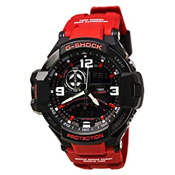 1825740f74da Image Unavailable. Image not available for. Color  Casio G-Shock Aviation  Black Dial Red Resin Quartz Men s Watch ...