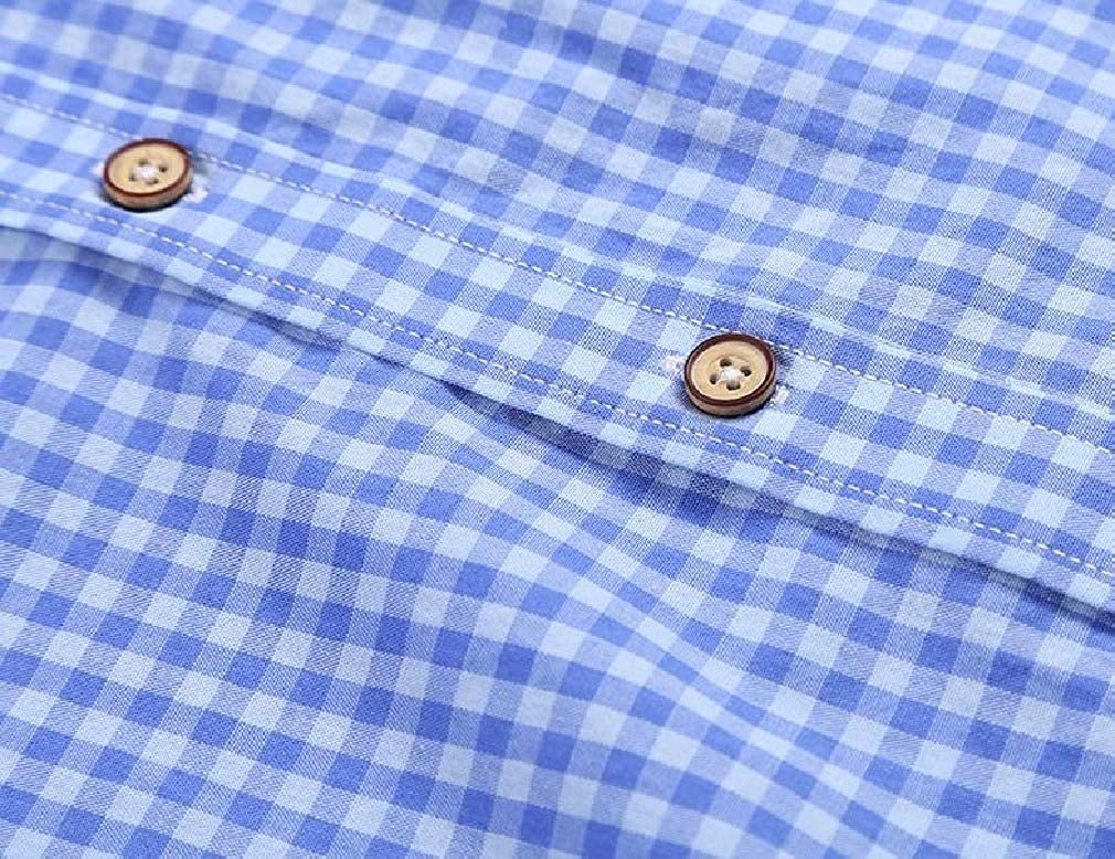 Comaba Mens Basic Button-Collar Breathable Plaid Cotton Casual Shirt