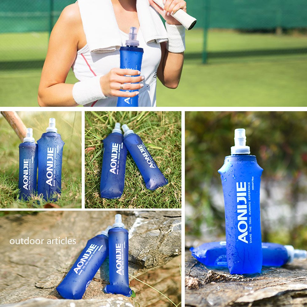Running Compact Cycling Docooler Soft Hydration Foldable Water Bottle Soft Flask Lightweight BPA PVC Free for Gym