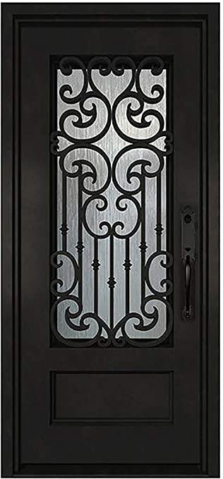 36 X80 Wrought Iron Exterior Door Single Entrance Side Door Pre Hung Glass Panels Opened With Frame Strong Safe Right Hand In Swing Black Finish Amazon Com