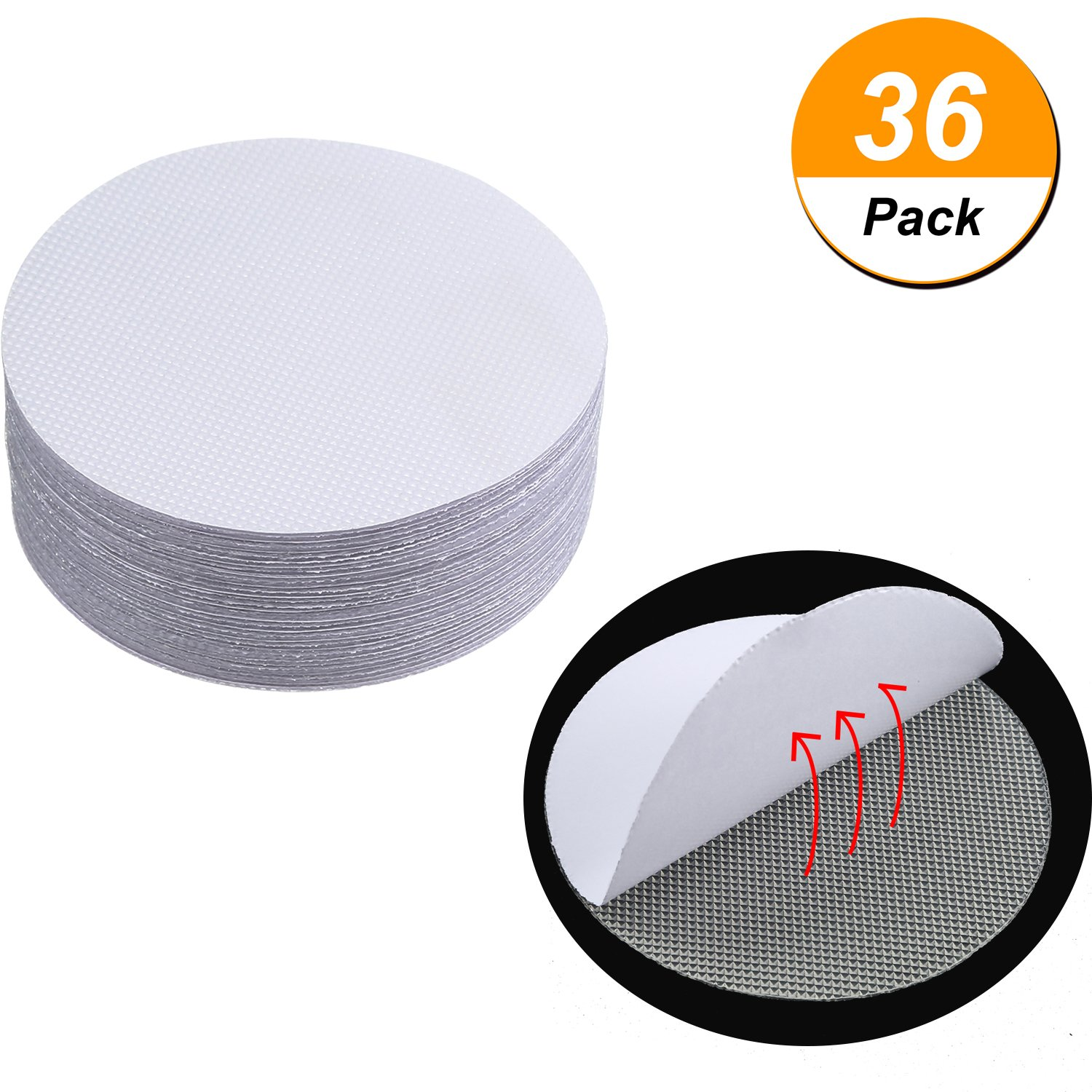 Jovitec 36 Pack Round Non-Slip Safety Shower Treads Self Adhesive Bath Stickers Round Anti-slip Discs Tape, 10 cm/4 Inch, Clear
