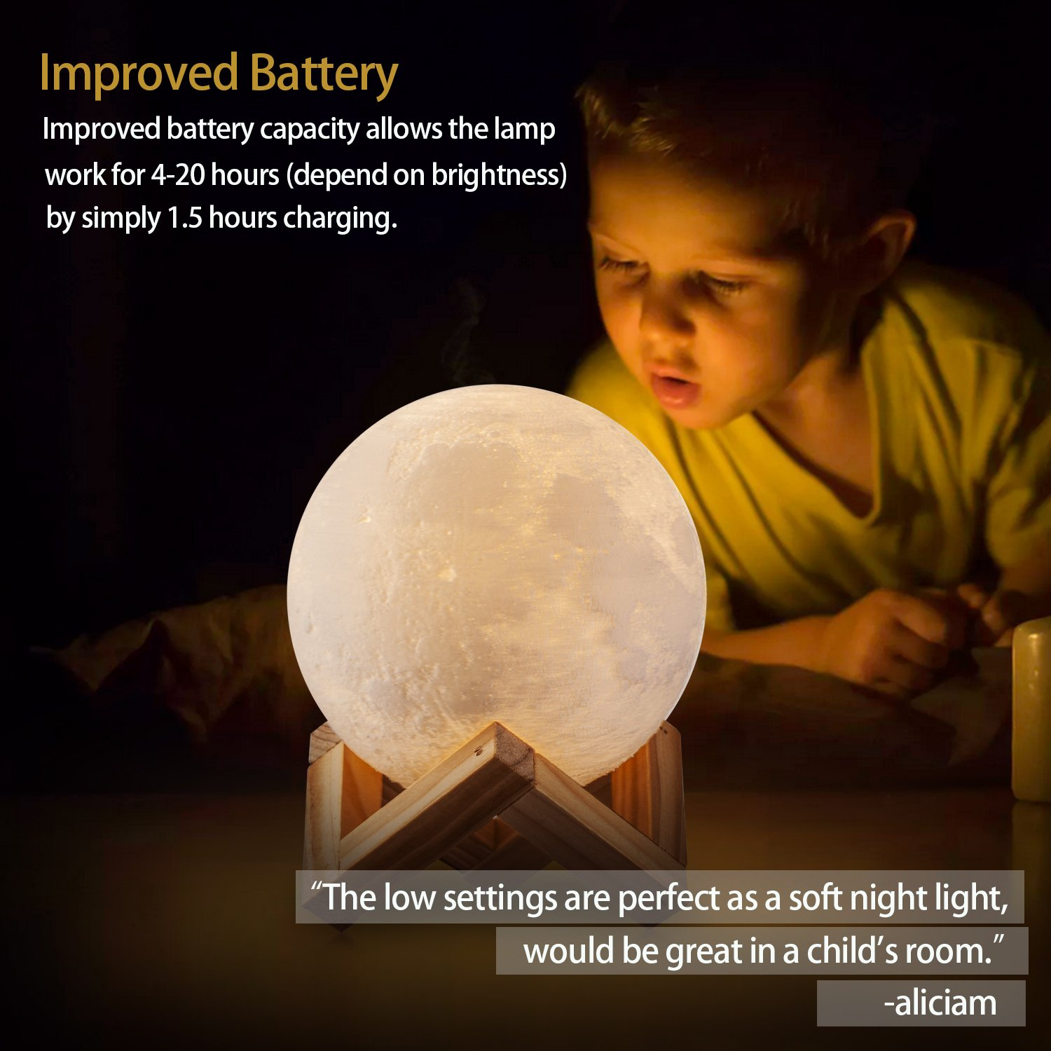 ACED Moon Light, 3D Printing LED Moon Lamp Large, Touch Control, Ajustable Brightness, USB Recharge, Seamless Lunar Moon Night Light Lamp with Stand for Bedrooms, Mother's Day Gift, 7.1Inch by ACED (Image #5)